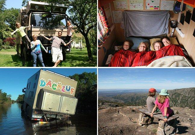 Casal faz viagem com os dois filhos por África e América a bordo de um caminhão que serve de casa