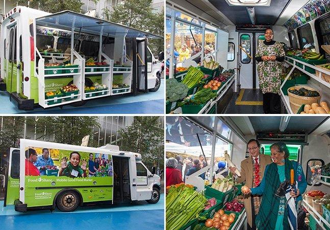 Arquitetos transformam ônibus em sacolão itinerante pra levar o mercado até às pessoas da periferia