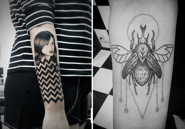 Conheça as incríveis tattoos marcadas pelo pontilhismo, hachuras e traços orgânicos deste artista gaúcho