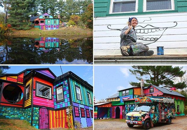 Casal usa cores fantásticas para transformar casa nas montanhas em obra de arte