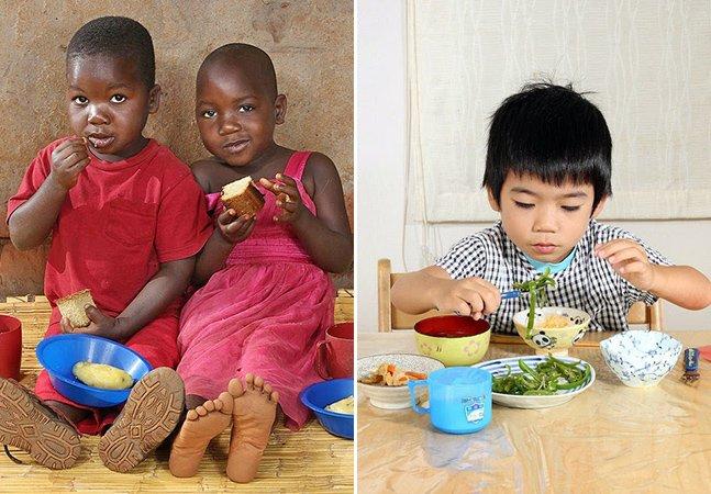 Fotógrafa registra o que crianças comem de café da manhã pelo mundo
