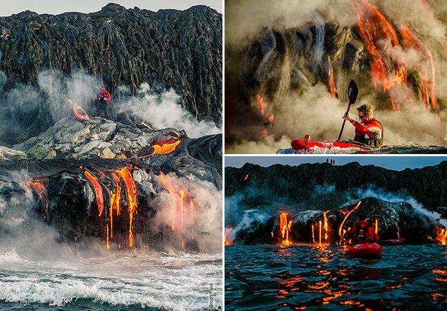 Brasileiro faz caiaque junto a um vulcão ativo no Havaí