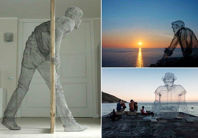 Artista talentoso cria gigantescas esculturas realistas só com arame