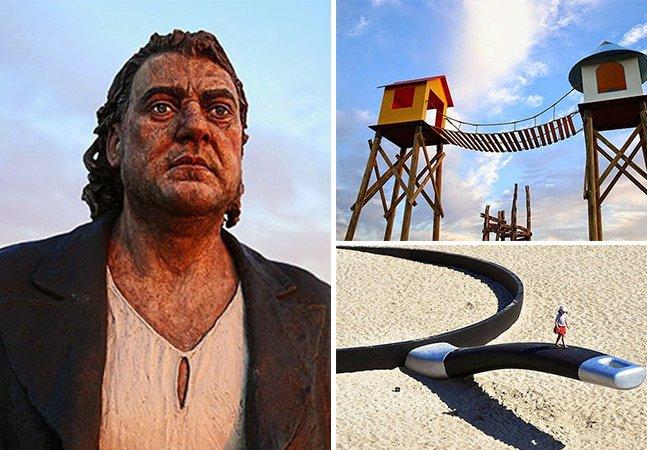 Festival de esculturas gigantes toma conta de praias na Austrália