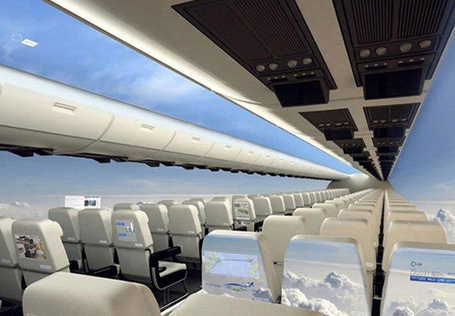 Os aviões do futuro não terão janela, mas uma vista panorâmica do céu