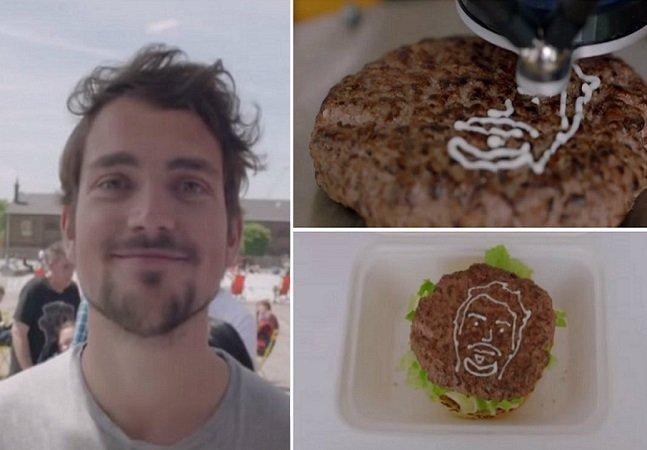 Marca usa maionese e impressora 3D pra colocar o rosto dos clientes em hambúrguers