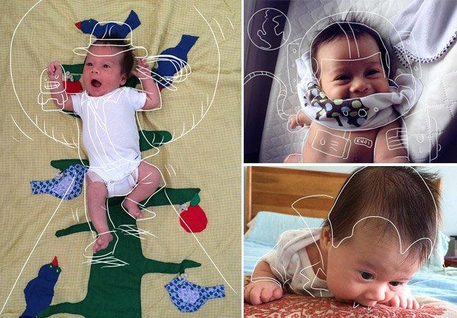 Pai criativo coloca filho recém-nascido em aventuras usando ilustrações