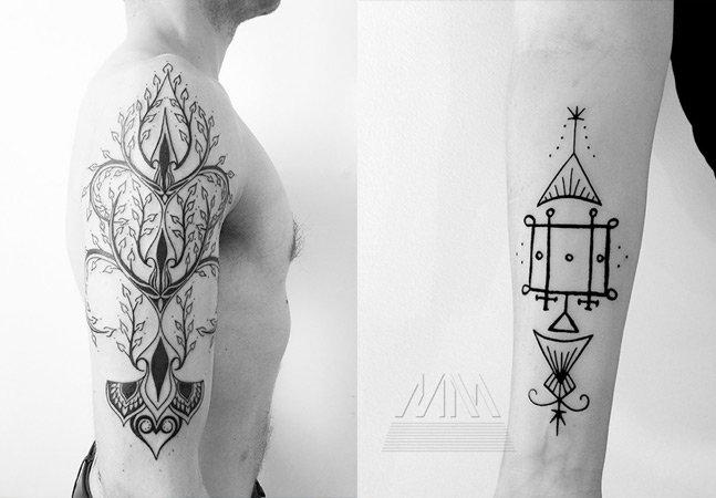 Conheça a arte geométrica do tatuador norte-americano Matt Matik