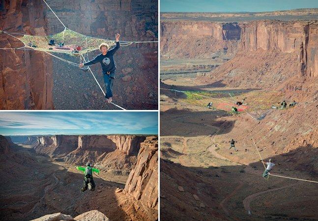 Grupo coloca rede de slackline a 400 pés de altura no deserto nos EUA