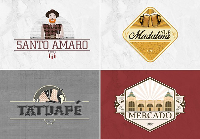 Designer cria série de logotipos para registrar a identidade de cada bairro paulistano