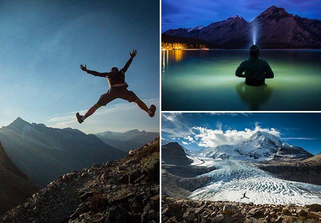 Fotógrafo canadense clica selfies em cenários incríveis pelo mundo