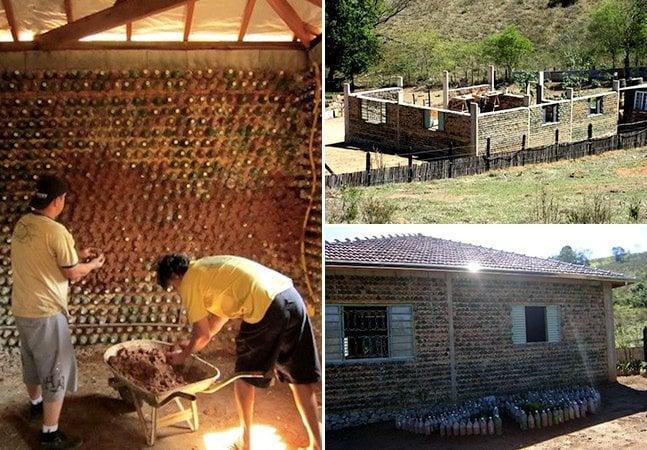 Pedreiro brasileiro constrói casa com 11 mil garrafas PET