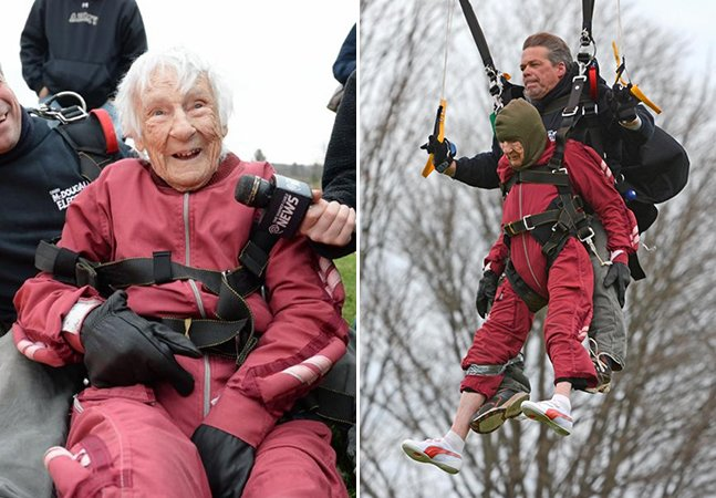 Senhora comemora aniversário de 100 anos pulando de paraquedas e prova que nunca é tarde para realizar sonhos