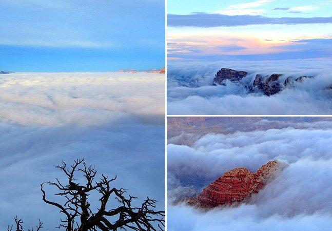 Fantásticas fotos mostram o Grand Canyon coberto por nuvens em fenômeno natural raro