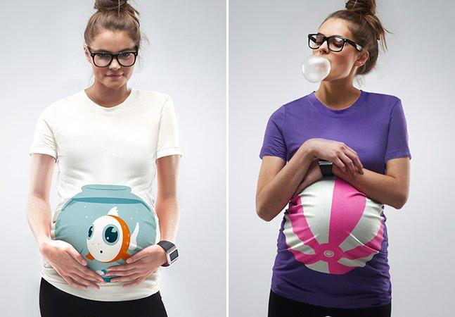 Camisetas criativas dão um toque divertido às barrigas de grávidas
