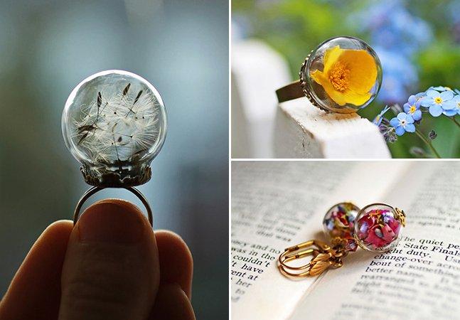 Designer inova e cria joias com flores de verdade dentro