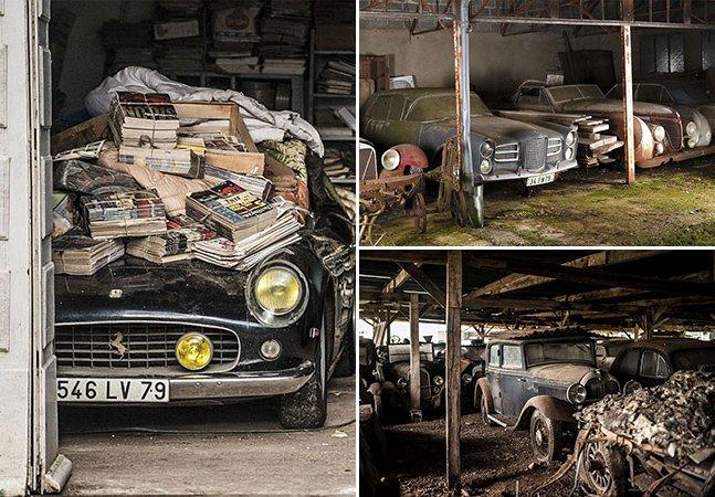 Coleção de 60 carros antigos avaliados em 12 milhões de libras é encontrada em fazenda na França
