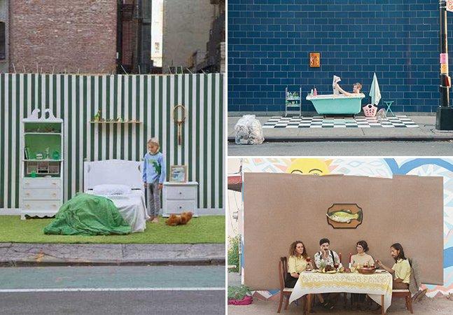 Fotógrafo cria cenários nas ruas de NY usando somente móveis e objetos encontrados no lixo