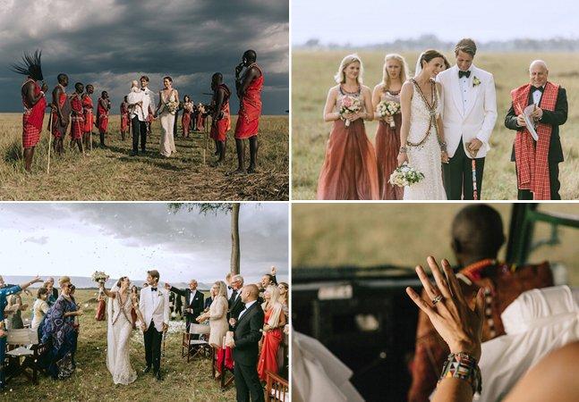 Imagens incríveis registram casamento feito no meio da savana africana