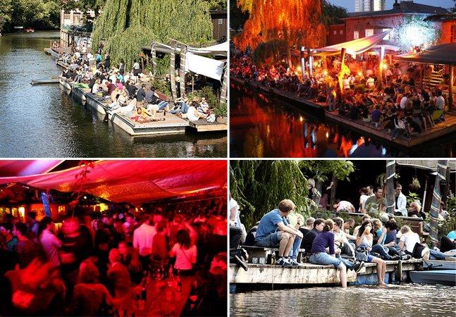 Bar descolado em Berlim traz música eletrônica boa e frescura zero à beira do rio