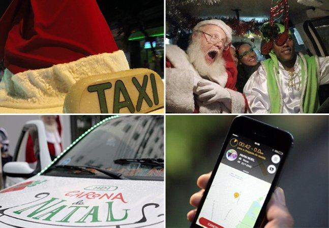 Ação de Natal coloca Papai Noel para dirigir táxi e dar caronas pela cidade