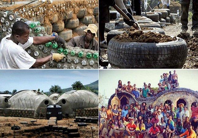 Centro comunitário sustentável é construído usando apenas materiais que iriam para o lixo