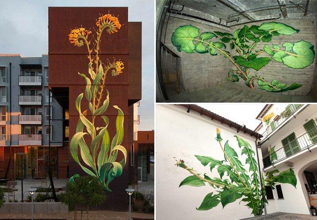 A artista que tem espalhado sua incrível street art de plantas gigantes pelas cidades