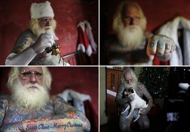 Conheça o Papai Noel brasileiro que tem 94% do corpo tatuado