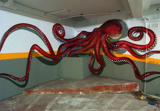 O artista português especialista  em criar ilusões de ótica com seus imponentes graffiti 3D