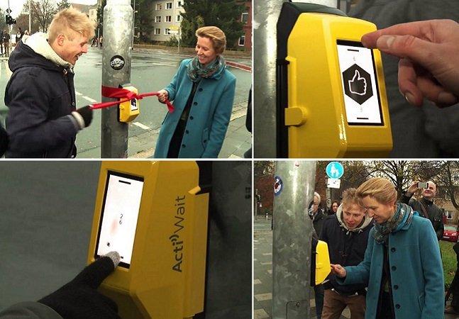 Ação permite que pedestres joguem ping pong com quem está do outro lado da rua enquanto aguardam o sinal abrir