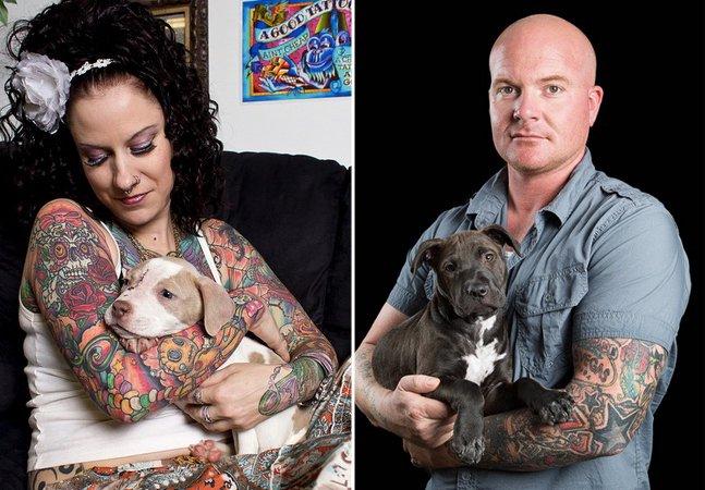 Fotógrafo cria bela série com cães adotados por pessoas tatuadas