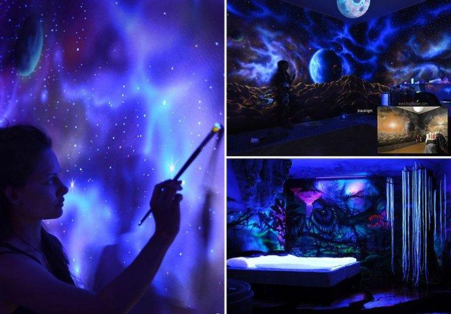 Decoração inovadora transforma quarto em espaço lisérgico quando a luz é apagada