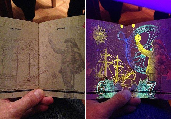 Passaporte canadense revela surpresas quando colocado na luz negra