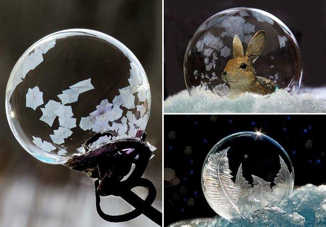 Bolhas de sabão congeladas viram arte em série fotográfica mágica