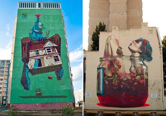Como uma dupla polonesa está transformando prédios sem graça em incríveis murais de arte
