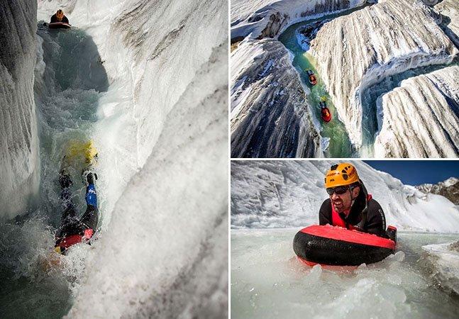 Grupo inova e pratica hydrospeeding na maior geleira dos Alpes suíços