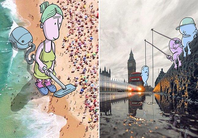 Ilustrador brasileiro cria arte que interage com fotos de desconhecidos no Instagram