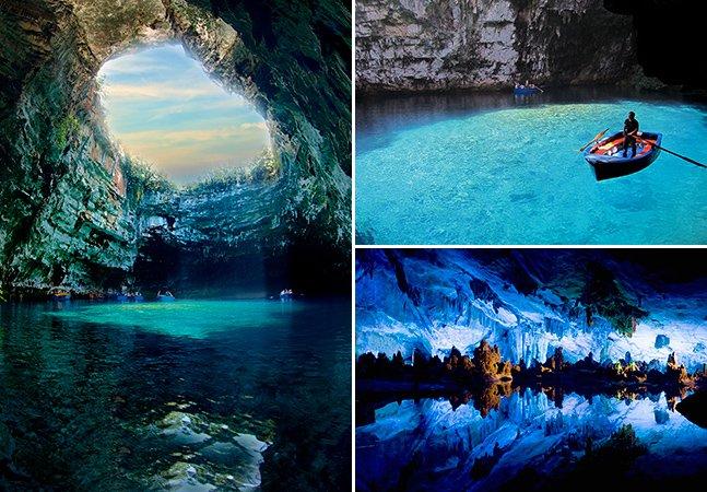 O incrível lago azul que fica dentro de uma caverna na Grécia