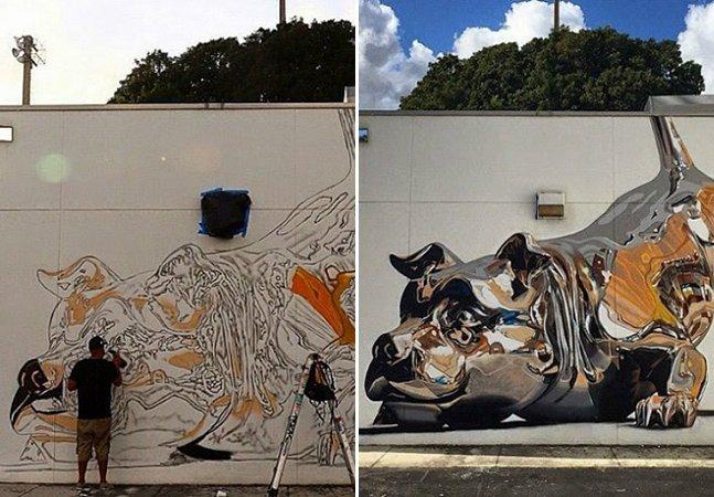 Impressionante mural feito 100% de spray vai confundir seus sentidos