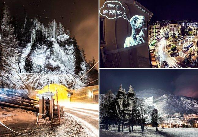 Artista espalha projeções temporárias fantásticas pelas ruas de França