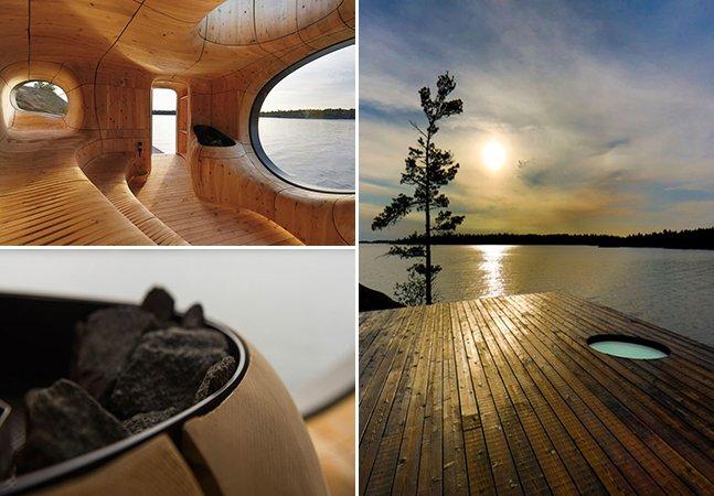 Sauna com design inovador tem vista incrível para um lago no Canadá