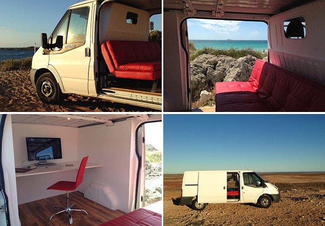 Em busca de paisagens e inspiração para trabalhar, desenvolvedor cria escritório dentro de van