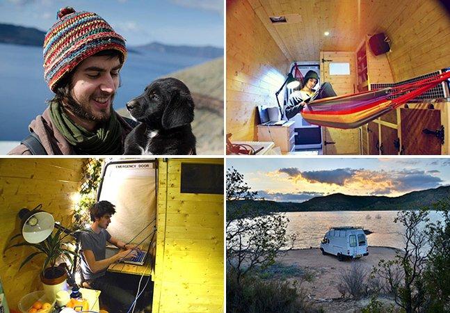 Jovem transforma van em casa minimalista e viaja pelo mundo