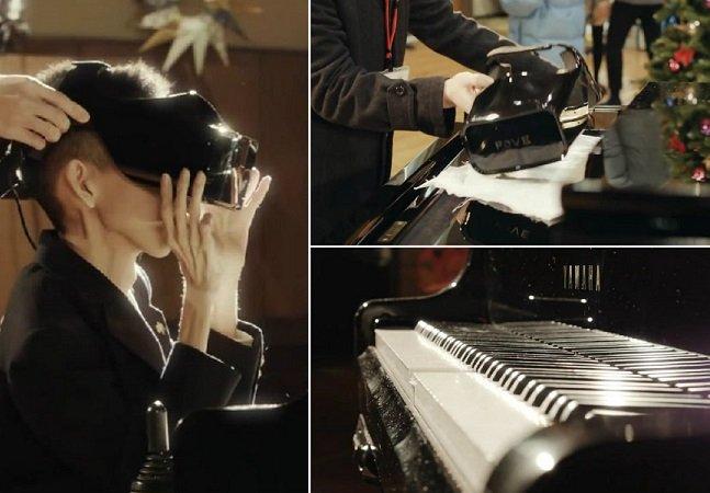 Deficiente físico no Japão usa óculos de realidade virtual para tocar piano com os olhos