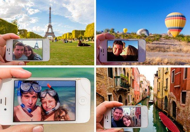 Casal encontra forma criativa de tirar selfies e registrar suas viagens pelo mundo