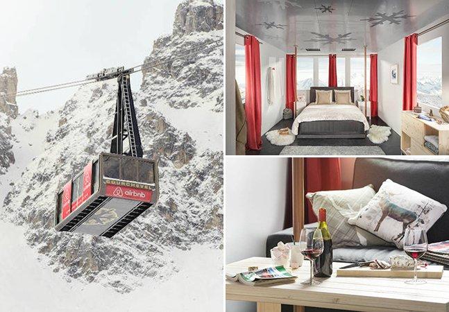 Só para aventureiros: o teleférico transformado em quarto com uma vista incrível sobre os Alpes Franceses