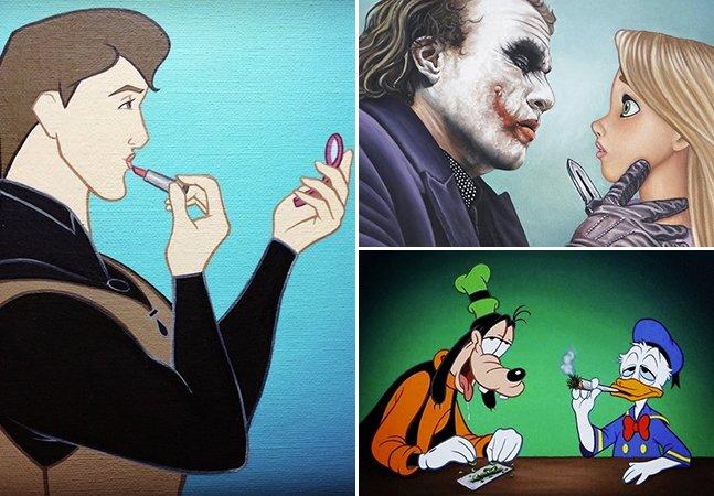 Ilustrador retrata personagens da Disney em situações inimagináveis