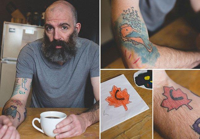 O pai que tatua o braço com os desenhos do filho desde que ele tem 5 anos
