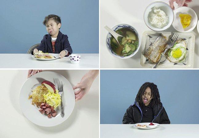A divertida reacão de crianças norte-americanas ao provarem o café da manhã de outros países