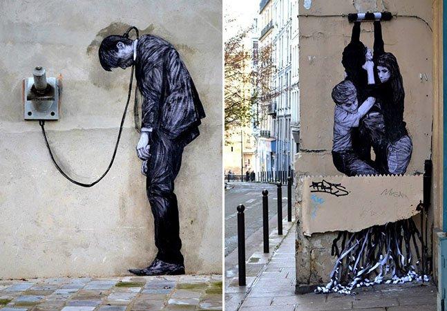 Artista usa humor e ilusão de ótica para dar nova vida às ruas de Paris